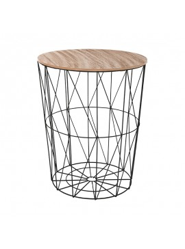 Βοηθητικό τραπέζι σαλονιού Cabel pakoworld oak-μαύρο Φ47x56.5εκ 199-000100