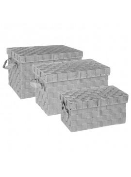 Σετ καλάθι αποθήκευσης 3 τεμ Lael pakoworld γκρι 28x40x25.5εκ 199-000109