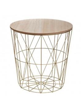 Τραπέζι σαλονιού Kumi pakoworld oak-χρυσό Φ41x40εκ 199-000175