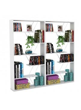 Βιβλιοθήκη Tars pakoworld χρώμα λευκό με λεπτομέρειες χρωμίου 168x24x157εκ 200-000171