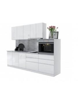 Σύνθεση Κουζίνας 3,80μ ύψος 2,17μ βάθος 0,60μ,MDF Ultra  240, λευκό χρώμα Genomax 12814-327456784545