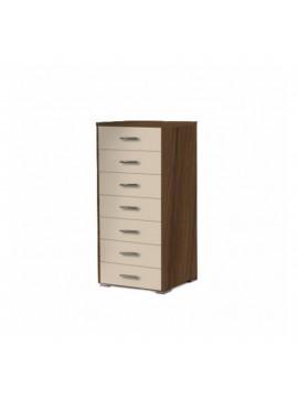 SARRIS  Συρταριέρα με 7 συρτάρια σε χρώμα εκρου-καρυδί 60x45x123 SARRIS 6-EKROY