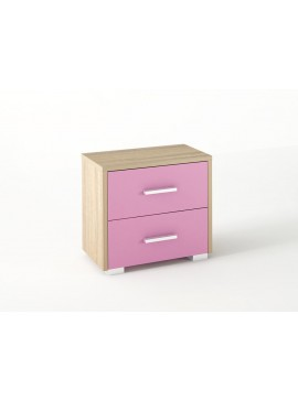Κομοδίνο παιδικό με 2 συρτάρια σε χρώμα δρυς-ροζ 50x34x48 SB 7-ROZ