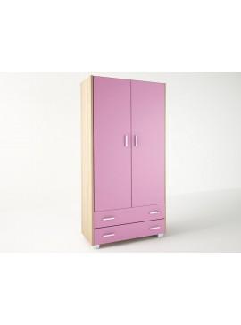 Ντουλάπα παιδική δίφυλλη σε χρώμα δρυς-ροζ 105x50x180 SB 2-ROZ