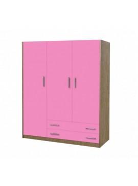 Ντουλάπα παιδική τρίφυλλη χρώματος δρυς-ροζ 110x50x180 SB 3-ROZ