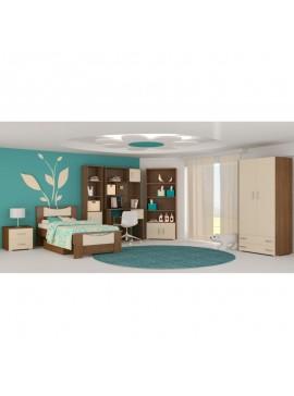 """Παιδικό δωμάτιο """"ΧΑΜΟΓΕΛΟ"""" σετ 9 τμχ σε χρώμα εκρού-καρυδί SET XAMOGELO-EKROU"""