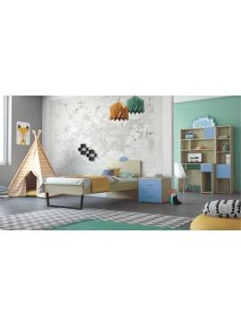 """SARRIS  Παιδικό δωμάτιο """"ΑΝΑΤΟΛΗ"""" σετ 5 τμχ σε χρώμα δρυς-μπλε SET ANATOLI-MPLE"""