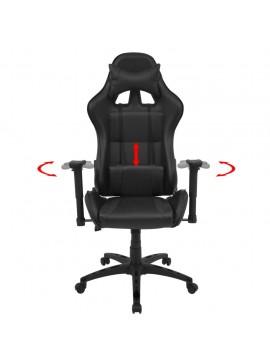 Καρέκλα Γραφείου Racing Ανακλινόμενη Μαύρη από Συνθετικό Δέρμα  20159