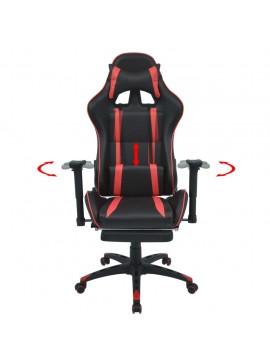 Καρέκλα Γραφείου Racing Ανακλινόμενη με Υποπόδιο Κόκκινη  20168