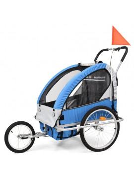 Τρέιλερ Ποδηλάτου Παιδιών & Καροτσάκι 2 σε 1 Μπλε και Γκρι  91376