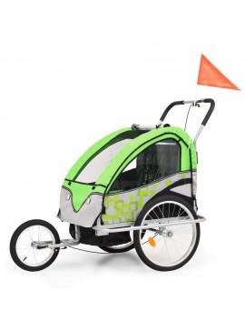 Τρέιλερ Ποδηλάτου Παιδιών & Καροτσάκι 2 σε 1 Πράσινο και Γκρι  91378