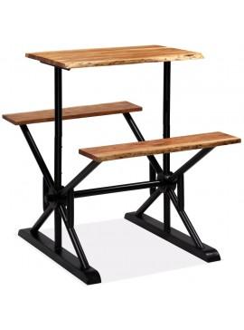Τραπέζι Μπαρ με Πάγκους 80x50x107 εκ. από Μασίφ Ξύλο Ακακίας   245376