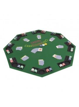 Επιφάνεια Τραπεζιού Πόκερ 8 Άτομα Πτυσσόμενη Οκταγωνική Πράσινη  80209