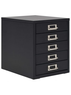 Συρταριέρα Αρχειοθέτησης 5 Συρτάρια Μαύρη 28x35x35 εκ. Μέταλλο  245974