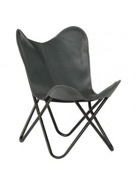 Καρέκλα Πεταλούδα Γκρι από Γνήσιο Δέρμα  246389