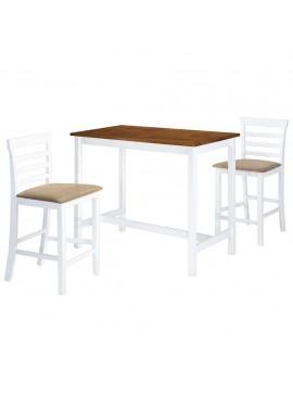 Σετ Τραπέζι και Καρέκλες Μπαρ 3 τεμ. Καφέ & Λευκό Μασίφ Ξύλο  275233