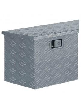 Κουτί Αποθήκευσης Τραπεζοειδές Ασημί 70x24x42 εκ. Αλουμινίου  142942