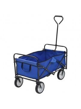 Τρόλεϊ Καρότσι Χειρός Πτυσσόμενο Μπλε Ατσάλινο  143779