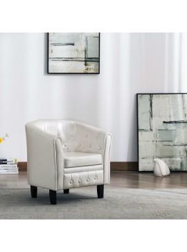 Πολυθρόνα Μπάρελ Λευκή από Συνθετικό Δέρμα  248021