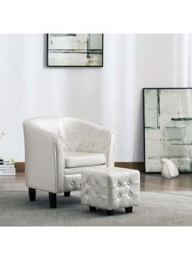 Πολυθρόνα Μπάρελ Λευκή από Συνθετικό Δέρμα με Υποπόδιο  248022