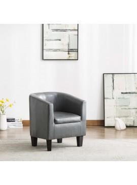Πολυθρόνα Μπάρελ Γκρι από Συνθετικό Δέρμα  248052