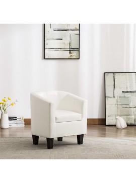 Πολυθρόνα Μπάρελ Λευκή από Συνθετικό Δέρμα  248054