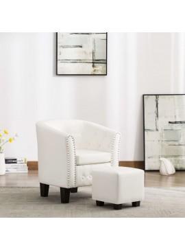 Πολυθρόνα Μπάρελ Λευκή από Συνθετικό Δέρμα με Υποπόδιο  248068