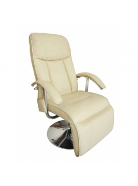 Πολυθρόνα Μασάζ Λευκό Κρεμ από Συνθετικό Δέρμα  240065