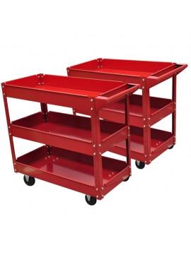 2xΦορητοί Εργαλειοφόροι με Τρία Ράφια 100 kg Κόκκινοι  140157
