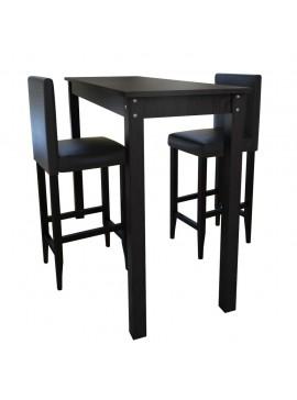 Τραπέζι Μπαρ με 2 Καρέκλες Μπαρ Μαύρο  160727