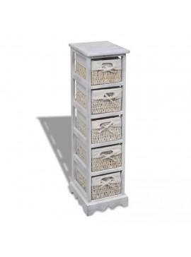Συρταριέρα με 5 Πλεκτά Καλάθια Λευκή Ξύλινη   240798