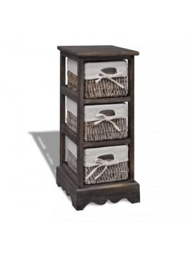 Συρταριέρα με 3 Πλεκτά Καλάθια Καφέ Ξύλινη   240799