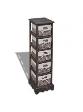 Συρταριέρα με 5 Πλεκτά Καλάθια Καφέ Ξύλινη   240801