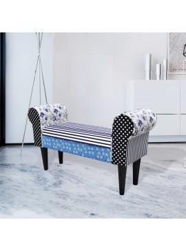 Παγκάκι Patchwork Εξοχικό Στυλ Μπλε & Λευκό  240881