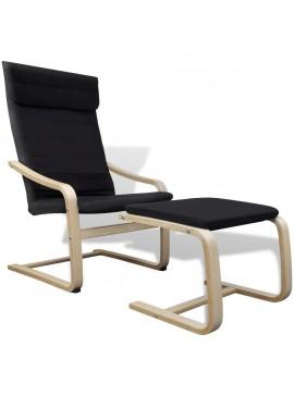 Πολυθρόνα Μαύρη Υφασμάτινη με Σκελετό από Λυγισμένο Ξύλο  241437