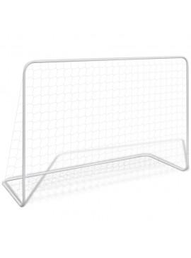 Τέρμα Ποδοσφαίρου Λευκό 182 x 61 x 122 εκ. Ατσάλινο + Δίχτυ  90684