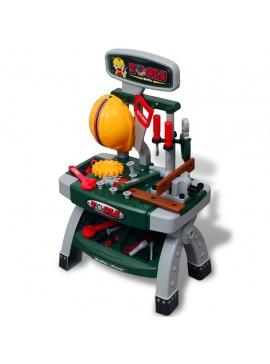 Πάγκος Εργασίας Παιδικός Παιχνίδι με Εργαλεία Πράσινος + Γκρι  80112