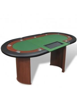 Τραπέζι Πόκερ 10 Ατόμων Θέση Dealer και Θήκη για Μάρκες Πράσινο   80133