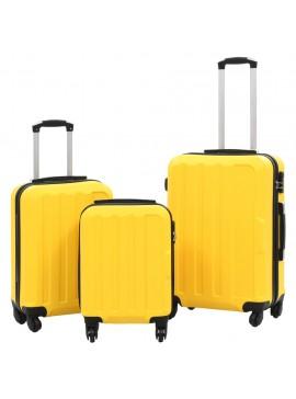 Σετ Βαλιτσών Τρόλεϊ 3 τεμ. με Σκληρό Περίβλημα Κίτρινο από ABS  91876
