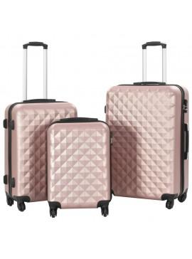 Σετ Βαλιτσών Τρόλεϊ 3 τεμ. με Σκληρό Περίβλημα Ροζ Χρυσό ABS  91888