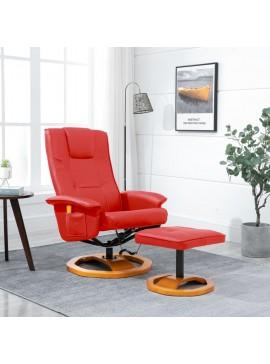 Πολυθρόνα Μασάζ Κόκκινη από Συνθετικό Δέρμα με Υποπόδιο  248448