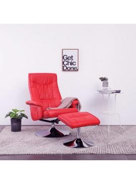 Πολυθρόνα Μασάζ Ανακλινόμενη Κόκκινη Συνθετικό Δέρμα & Υποπόδιο  248498