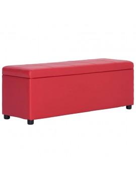 Πάγκος με Αποθηκευτικό Χώρο Κόκκινος 116 εκ. Συνθετικό Δέρμα  281314