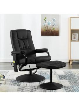 Πολυθρόνα Μασάζ Μαύρη από Συνθετικό Δέρμα με Υποπόδιο  249302