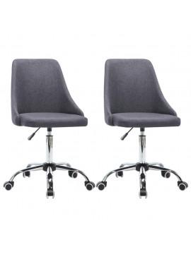 Καρέκλες Γραφείου Τροχήλατες 2 τεμ. Σκούρο Γκρι Υφασμάτινες  276280