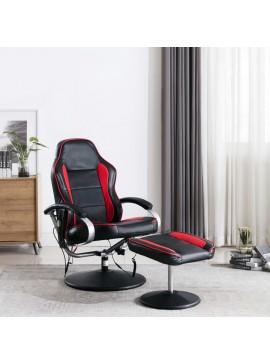 Πολυθρόνα Μασάζ Ανακλινόμενη Μαύρο/Κόκκινο Δερματίνη & Υποπόδιο  248632
