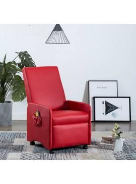 Πολυθρόνα Μασάζ Ανακλινόμενη Κόκκινη από Συνθετικό Δέρμα  248640