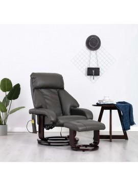 Πολυθρόνα Μασάζ Ανακλινόμενη Γκρι από Συνθετικό Δέρμα  248680