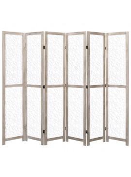 Διαχωριστικό Δωματίου με 6 Πάνελ Λευκό 210 x 165 εκ. Μασίφ Ξύλο  284198