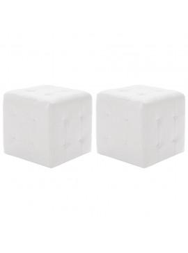 Σκαμπό Πουφ 2 τεμ. Λευκά 30 x 30 x 30 εκ. από Συνθετικό Δέρμα  278389